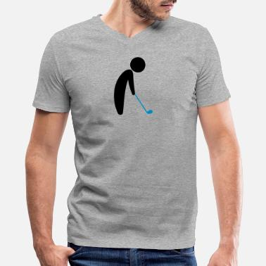 Phil Green A Golfer About To Tee Off - Men's V-Neck T-Shirt by Canvas