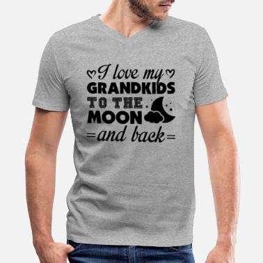 I Love My Grandkids To The Moon And Back I Love My Grandkids To The Moon And Back Shirt - Men's V-Neck T-Shirt by Canvas