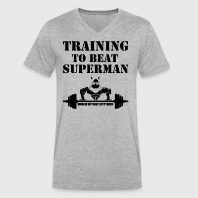 Training to beat superman - Men's V-Neck T-Shirt by Canvas