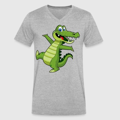 crocodile wallpaper - Men's V-Neck T-Shirt by Canvas