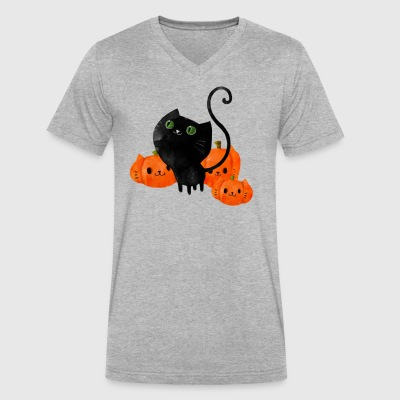 Black Halloween Kitty Cat - Men's V-Neck T-Shirt by Canvas