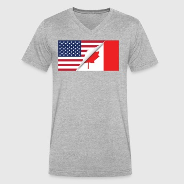 Half American Half Canadian Flag - Men's V-Neck T-Shirt by Canvas