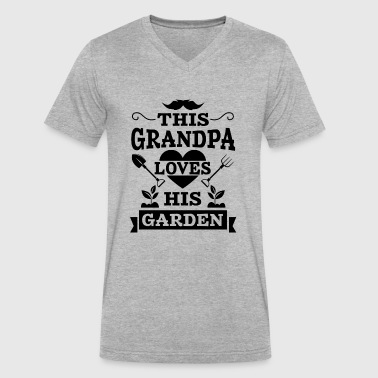 Grandpa loves garden blac - Men's V-Neck T-Shirt by Canvas