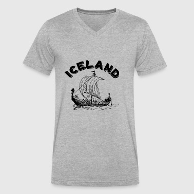 Iceland Viking Ship - Men's V-Neck T-Shirt by Canvas