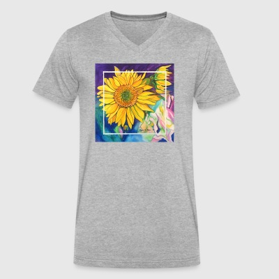 Sunflowers Watercolor - Men's V-Neck T-Shirt by Canvas