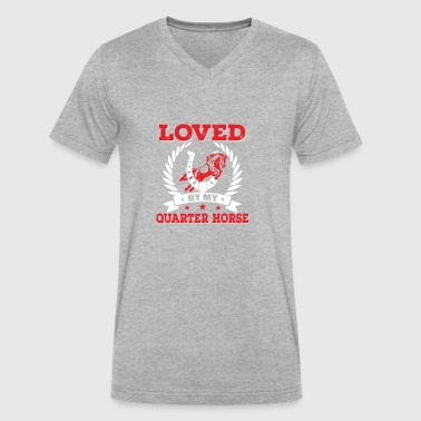 Loved By My Quarter Horse Funny Quarter Horse Shir - Men's V-Neck T-Shirt by Canvas