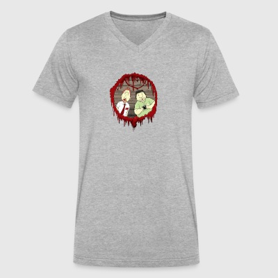 Shaun and Ed Zombie Shirt - Men's V-Neck T-Shirt by Canvas