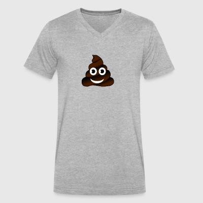 shit poop emoticon fun humor joke smile lol ironic - Men's V-Neck T-Shirt by Canvas