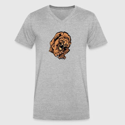 wild_lion_in_attack - Men's V-Neck T-Shirt by Canvas