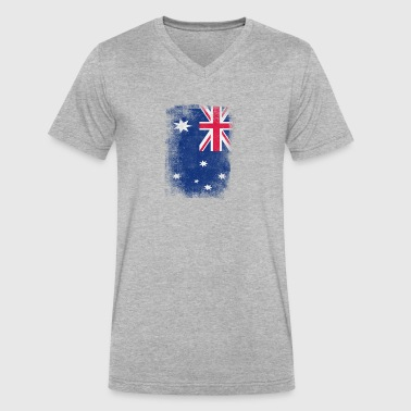 Australia Flag Proud Australian Vintage Distressed - Men's V-Neck T-Shirt by Canvas
