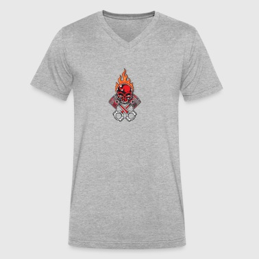 Fire Skull - Men's V-Neck T-Shirt by Canvas