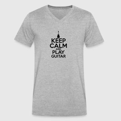 Keep Calm And Play Guitar T Shirt - Men's V-Neck T-Shirt by Canvas