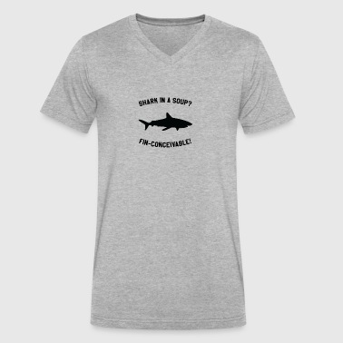 Shark In A Soup? FIN-CONCEIVABLE! - Men's V-Neck T-Shirt by Canvas