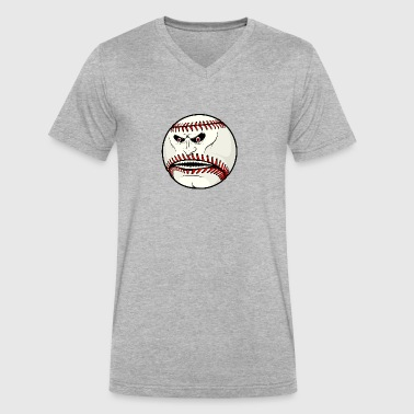 angry_baseball_ball - Men's V-Neck T-Shirt by Canvas