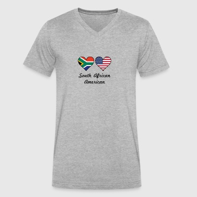 South African American Flag Hearts - Men's V-Neck T-Shirt by Canvas