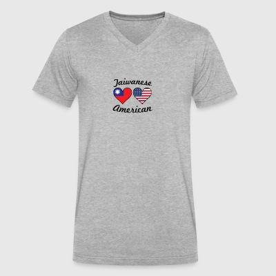 Taiwanese American Flag Hearts - Men's V-Neck T-Shirt by Canvas