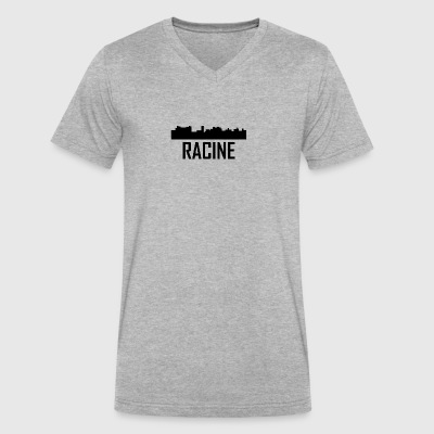 Racine Wisconsin City Skyline - Men's V-Neck T-Shirt by Canvas