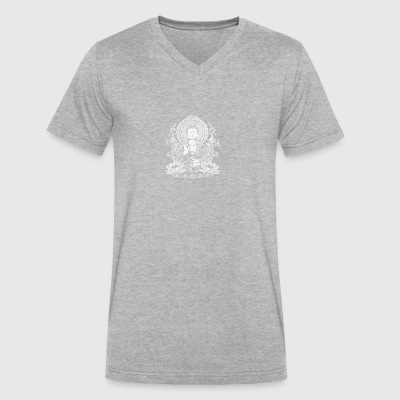 Siddhartha Gautama Buddha White Halftone - Men's V-Neck T-Shirt by Canvas