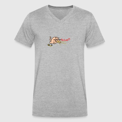 Sneezing cat by Rones 2400px - Men's V-Neck T-Shirt by Canvas