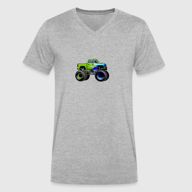 Jeep SUV Monster Truck car vector cartoon image - Men's V-Neck T-Shirt by Canvas