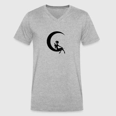 Fairy on a moon - Men's V-Neck T-Shirt by Canvas