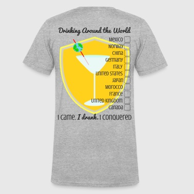 Drinking Around the World- Checklist - Men's V-Neck T-Shirt by Canvas
