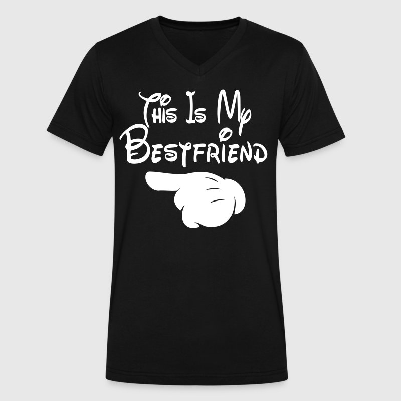 This Is My Bestfriend (Pointing Right) - Men's V-Neck T-Shirt by Canvas