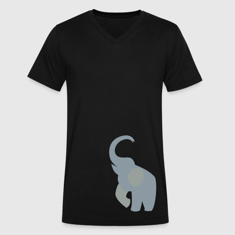 elephant with his trunk up good luck! - Men's V-Neck T-Shirt by Canvas