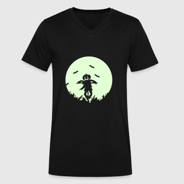 A pumpkin scarecrow in the cornfield and Moon - Men's V-Neck T-Shirt by Canvas
