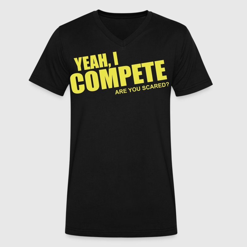 compete - Men's V-Neck T-Shirt by Canvas
