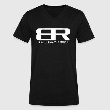 Record Label Techno Beat Therapy T-Shirt - Men's V-Neck T-Shirt by Canvas