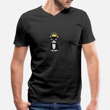 Cat With Crown Cat with Crown - Men's V-Neck T-Shirt by Canvas