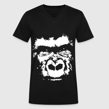 gorilla face - Men's V-Neck T-Shirt by Canvas