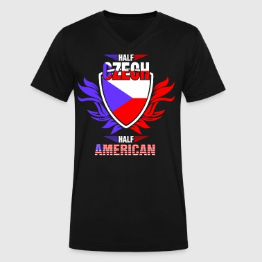 Czech American Half Czech Half American - Men's V-Neck T-Shirt by Canvas