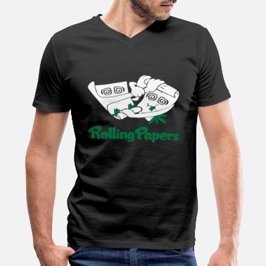 Rolling Paper Rolling Papers - Men's V-Neck T-Shirt by Canvas