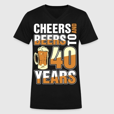 Cheers And Beers To 40 Years - Men's V-Neck T-Shirt by Canvas