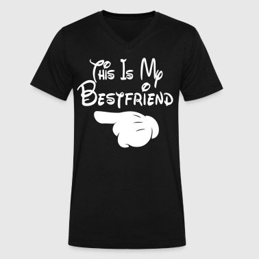 My Best Friend This Is My Bestfriend (Pointing Right) - Men's V-Neck T-Shirt by Canvas
