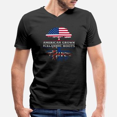 Icelandic Designs American Grown with Icelandic Roots Iceland Design - Men's V-Neck T-Shirt by Canvas