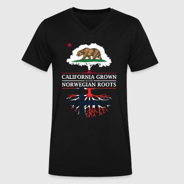 Norwegian Heritage California Grown with Norwegian Roots - Men's V-Neck T-Shirt by Canvas