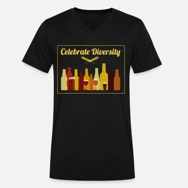 Brew Ha Ha Celebrate Diversity Craft Beer Drinking - Men's V-Neck T-Shirt by Canvas