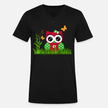 Butterfly Manga Owl Butterfly - Men's V-Neck T-Shirt by Canvas