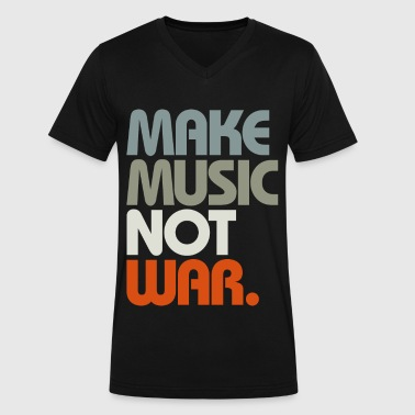 Mafia Wars Make Music Not War (Retro) - Men's V-Neck T-Shirt by Canvas