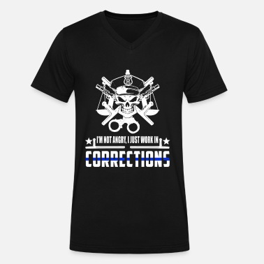 Probation Office Correction Officer I'm Not Angry - Men's V-Neck T-Shirt by Canvas