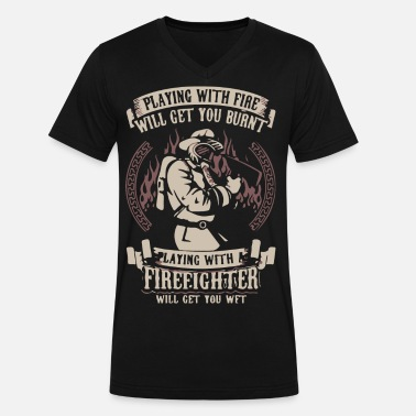 Fire Fighter Fire Fighter - Men's V-Neck T-Shirt by Canvas