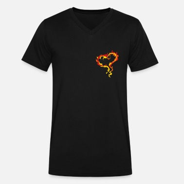 Pyromaniac Heart of Flames - Men's V-Neck T-Shirt by Canvas