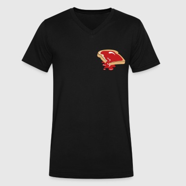 Strawberry Jam A slice of bread with jam - Men's V-Neck T-Shirt by Canvas