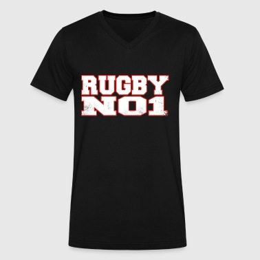 Pussy Football RUGBY NUMBER 1 COOL AND STYLISH SPORTY RUGBY - Men's V-Neck T-Shirt by Canvas