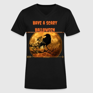 scary halloween - Men's V-Neck T-Shirt by Canvas