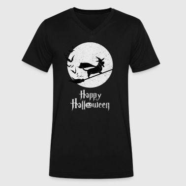 Witch BASSET HOUND Dog Funny Halloween Costume - Men's V-Neck T-Shirt by Canvas