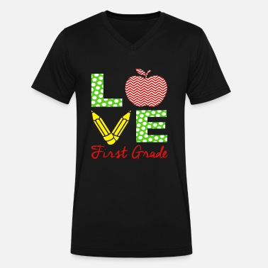First Graders First Grade Teacher Shirt Love My 1st Graders Gift - Men's V-Neck T-Shirt by Canvas